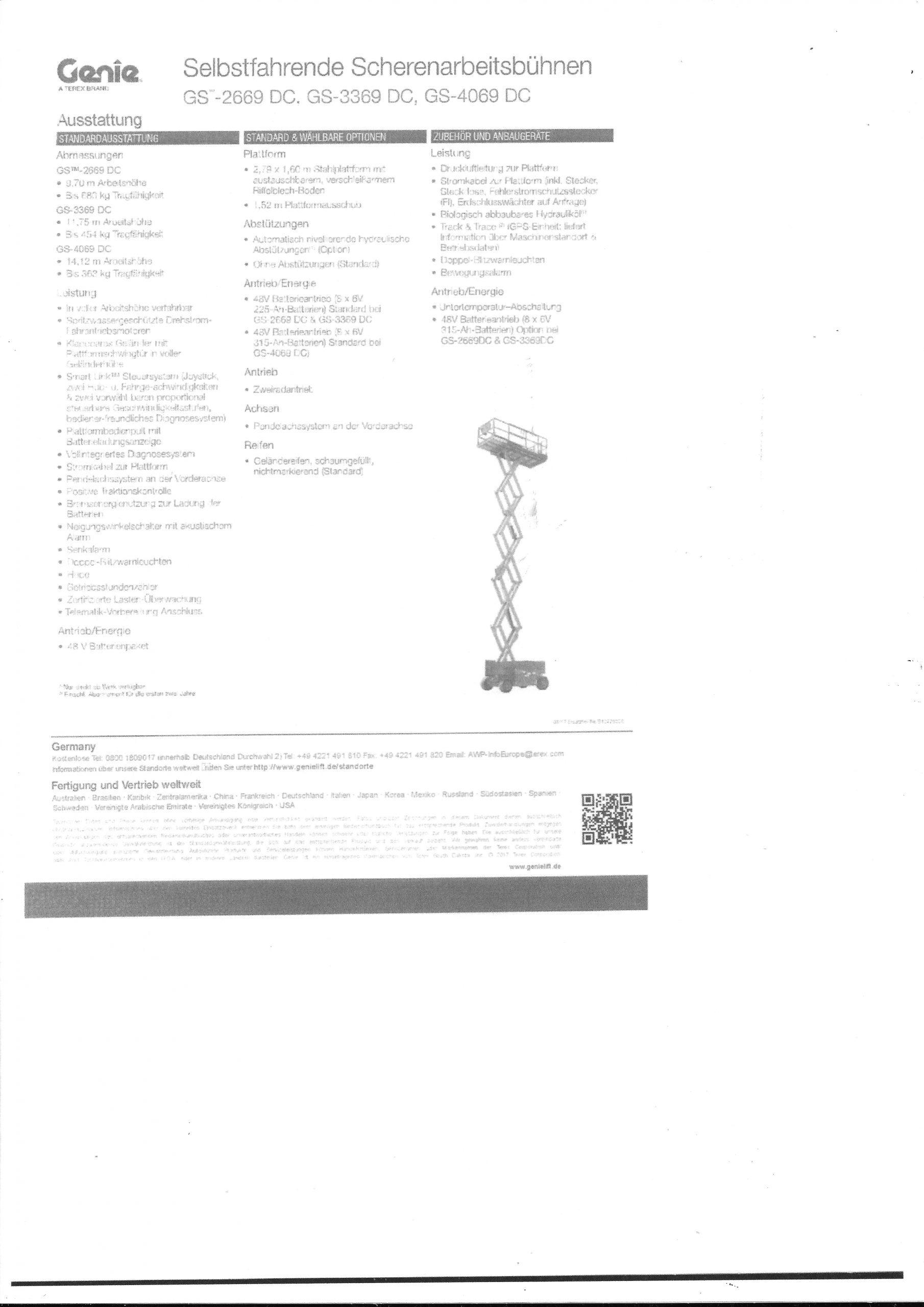 Scherenarbeitsbühne Genie GS2669DC – NEU –